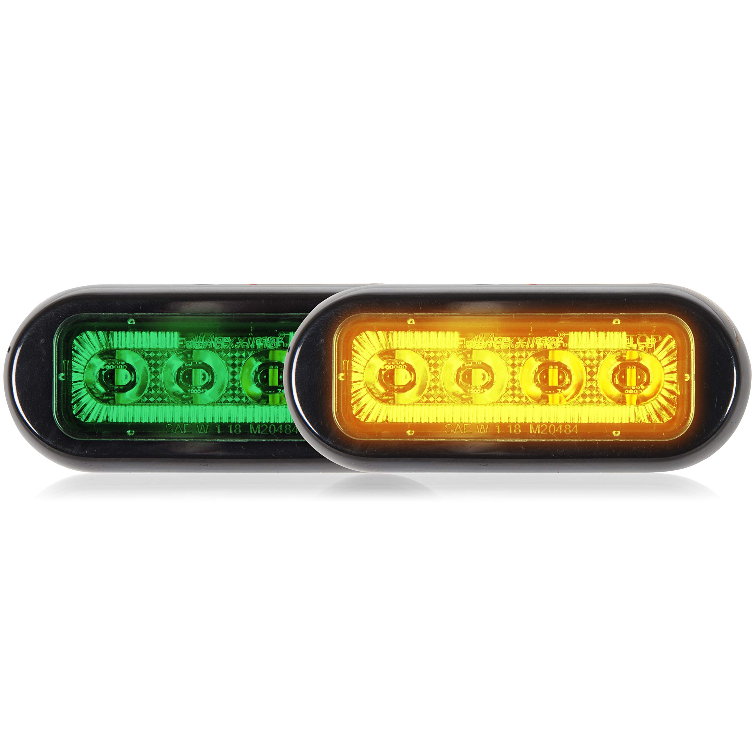 Maxxima M20484GYCL-DC 8 LED Rectangular Surface Mount Warning & Emergency Dual Color Green/Amber Clear Lens