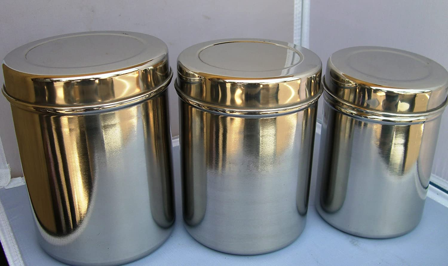 amazon com stainless steel tea tin canister container set of 3