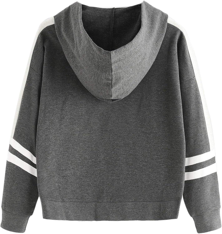 SweatyRocks Womens Long Sleeve Hoodie Sweatshirt Colorblock Tie Dye Print Tops