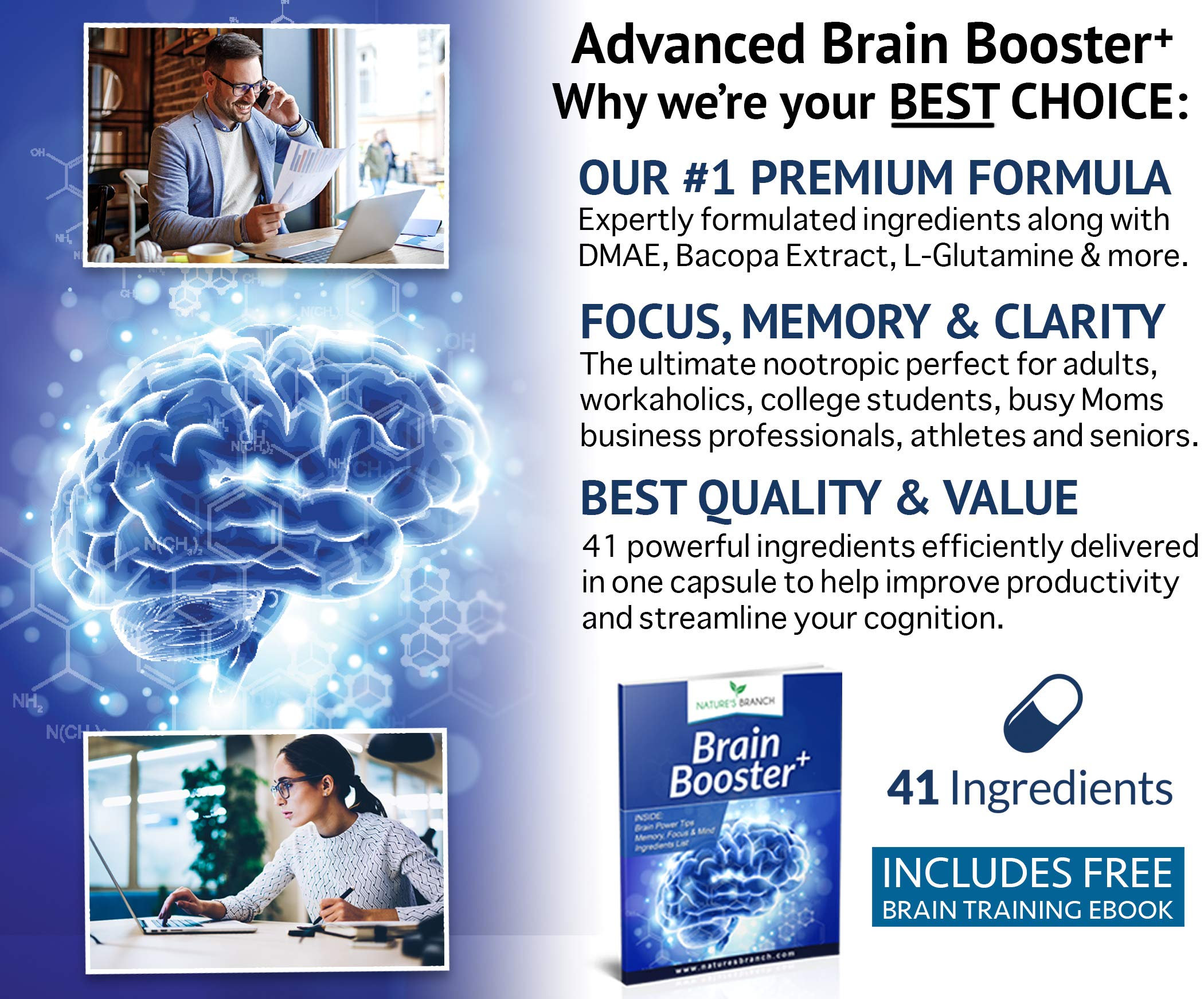 Advanced Brain Booster Supplements - 41 Ingredients Memory Focus & Clarity Vitamins Plus eBook - Boost Energy, Elevate Brain Function Nootropic Power Support with DMAE - 60 Brain Health Formula Pills