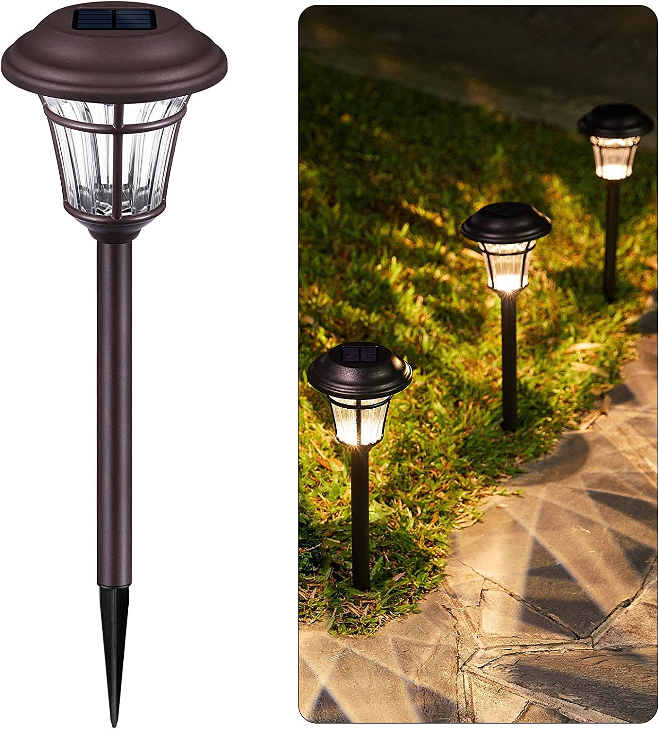Brightown Solar Pathway Lights 6 Pack Brown Stake-6 Lumen Auto On Off Solar Powered Rechargeable Battery Waterproof All Seasons Garden Landscape Lighting Lamp for Path Lawn Yard Patio Walkway Driveway