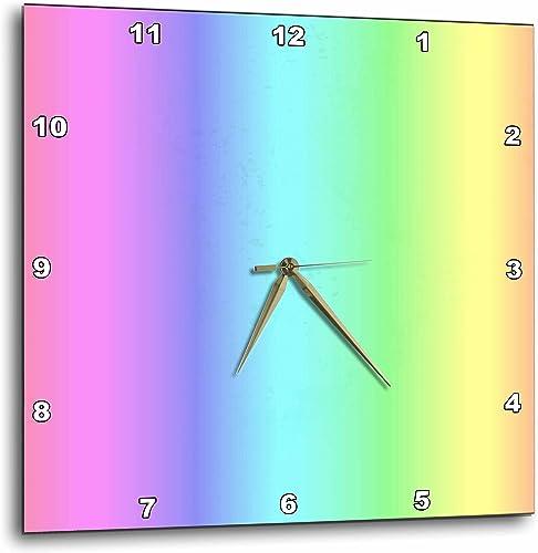 3dRose dpp_30663_1 Pastel Rainbow-Wall Clock, 10 by 10-Inch