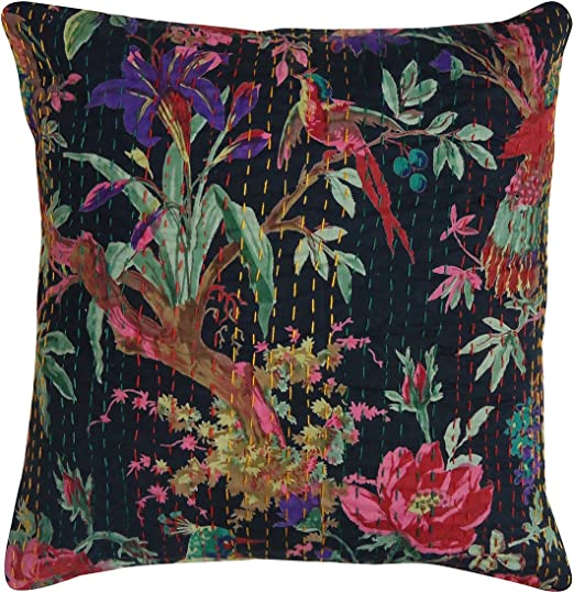 Indian Vintage Bird Print Kantha Cushion Cover Sofa Pillow Case Cotton Art Throw