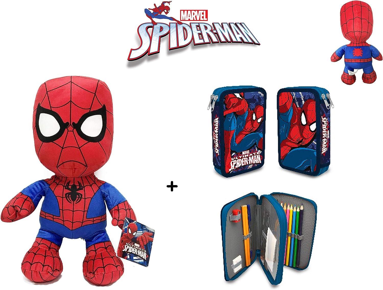 Spiderman: Peluche de Spiderman 30 cm + Estuche-plumier Doble Spiderman.: Amazon.es: Juguetes y juegos