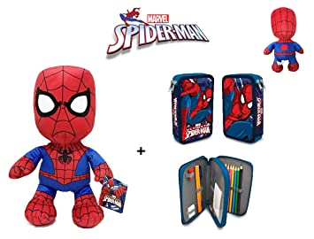 Spiderman: Peluche de Spiderman 30 cm + Estuche-plumier ...