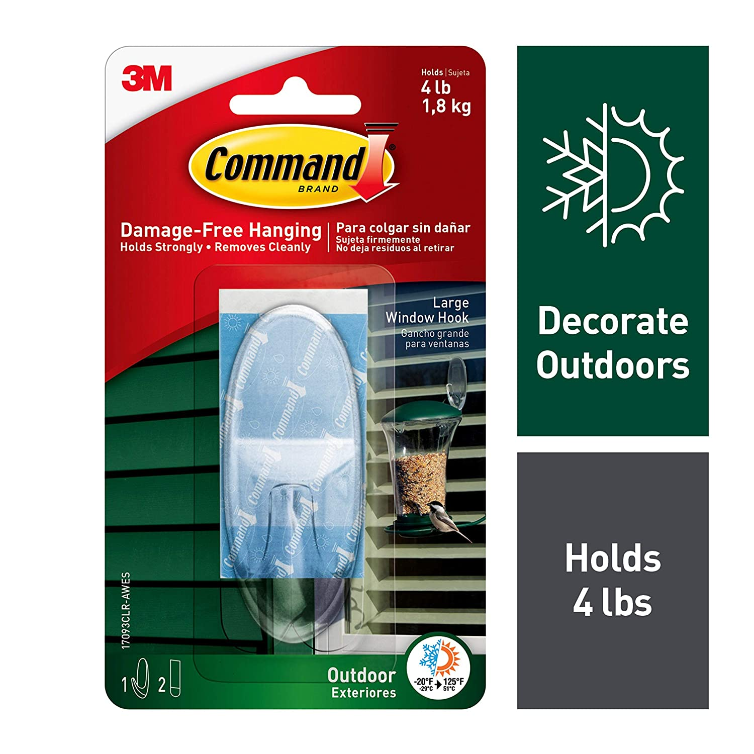 Amazon.com: Command Outdoor Window Hook R43R31, Large, Clear, 6-Hook: Home & Kitchen