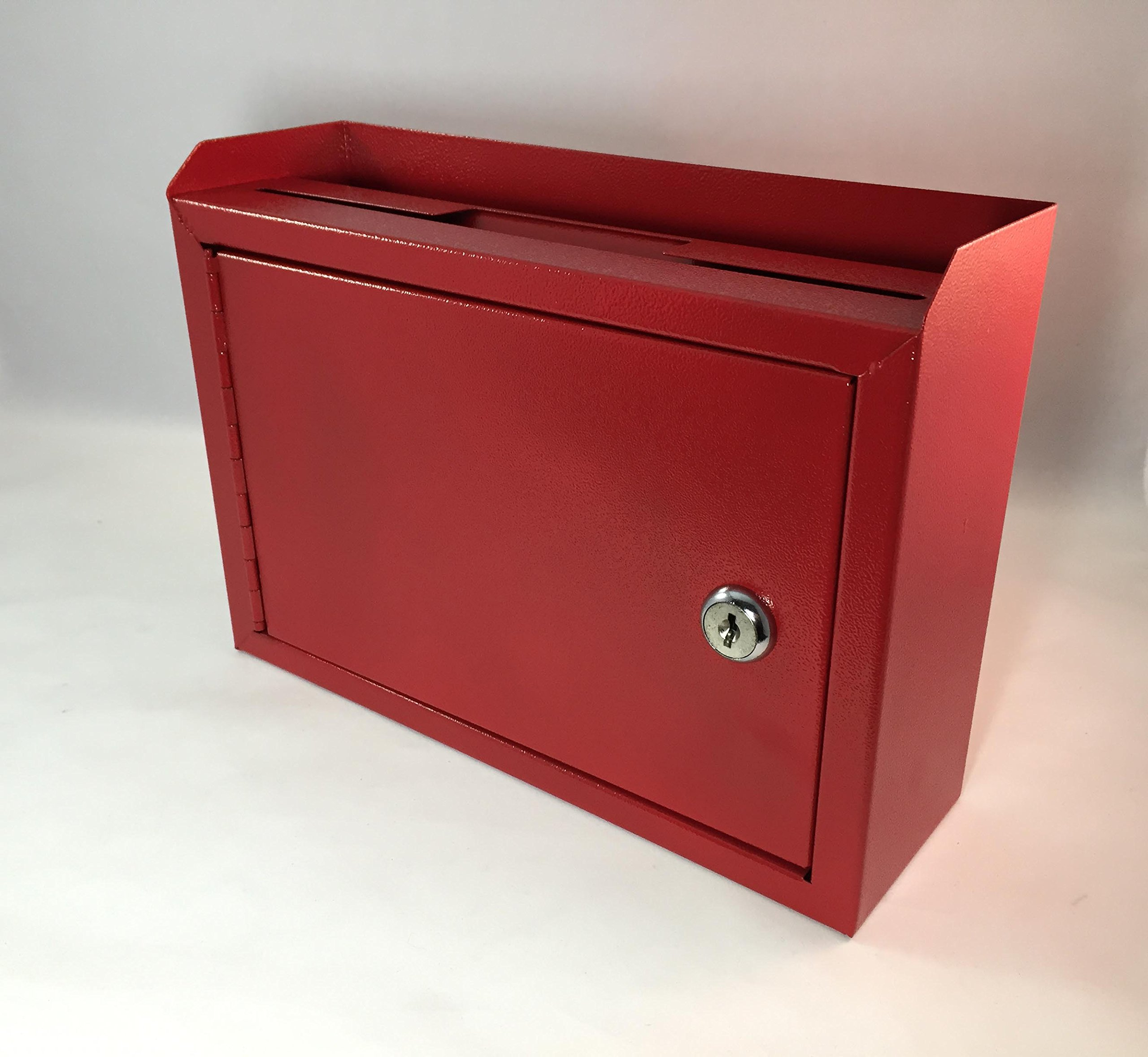 FixtureDisplays 10 x 7.2 x 3'', Metal Multipurpose, Donation Box,Cash and Mail Box,Suggestion Box 15211 red