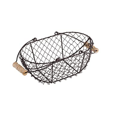 10  Oval Wire Basket with Wooden Handles - Vintage Style - By Trademark Innovations