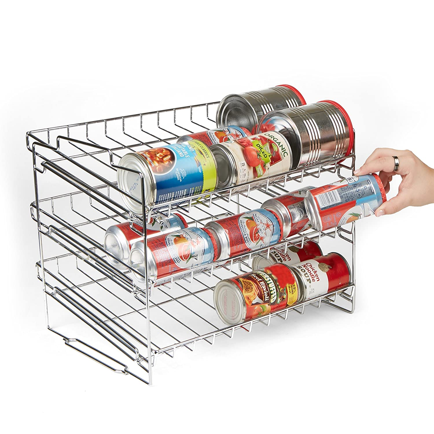Silver Mind Reader Stackable Can Rack Organizer Pantry Organizer
