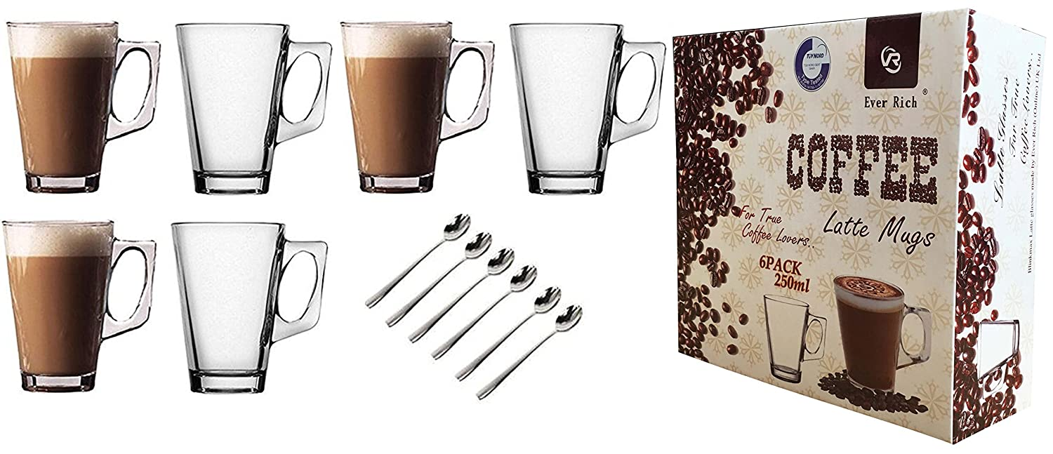 EVER RICH ® 240ML LATTE GLASS TEA COFFEE CUP MUG (Fits Tassimo & Dolce Gusto) SET of 6 Glasses (6 GLASSES ONLY)