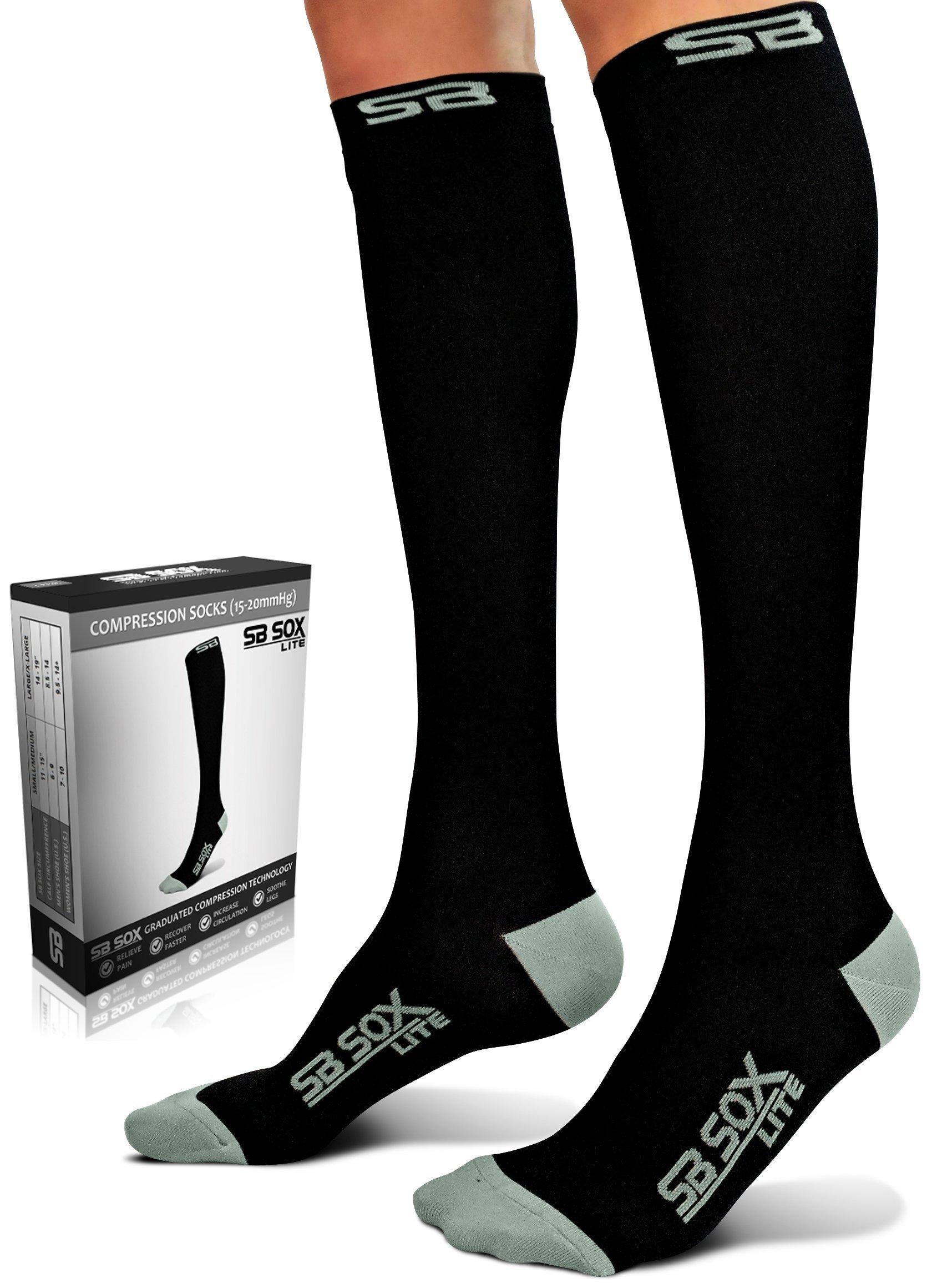 SB SOX Lite Compression Socks (15-20mmHg) for Men & Women - BEST Stockings for Running, Medical, Athletic, Edema, Diabetic, Varicose Veins, Travel, Pregnancy, Shin Splints, Nursing. (Black/Gray, L/XL)