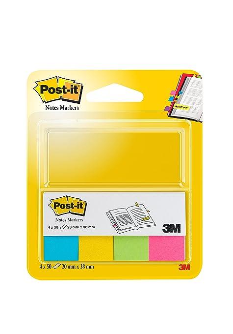 Post-it 30230 Segnapagina in Carta con Supporto in Cartoncino 20 x 38 mm 4 Colori Neon 200 Pezzi Rosa//Giallo//Verde//Arancio