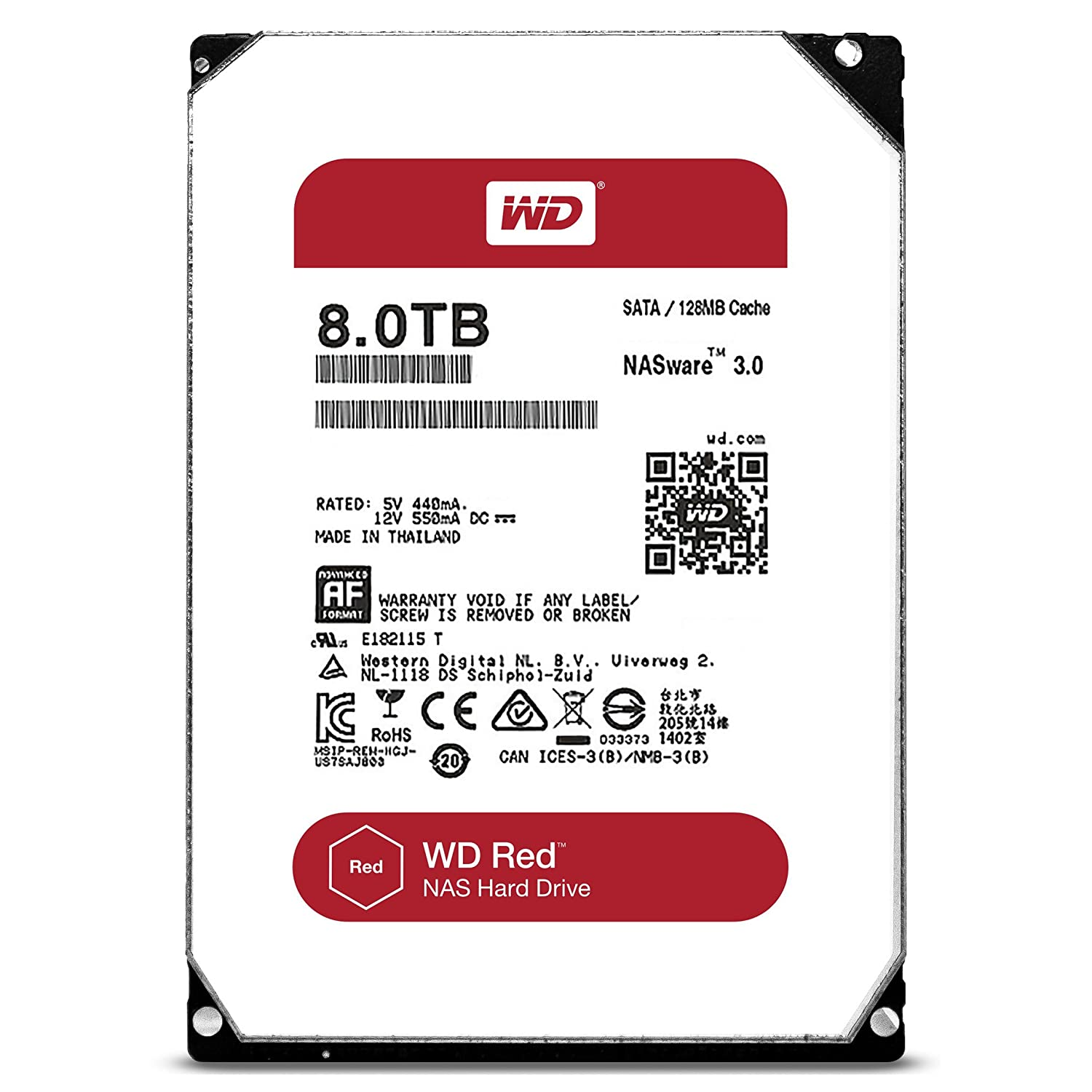 Amazon com: WD Red 8TB NAS Hard Disk Drive - 5400 RPM Class