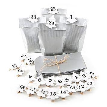 24 Adventskalender Tüten 9 X 15 X 35 Silber Mini Baum Zum