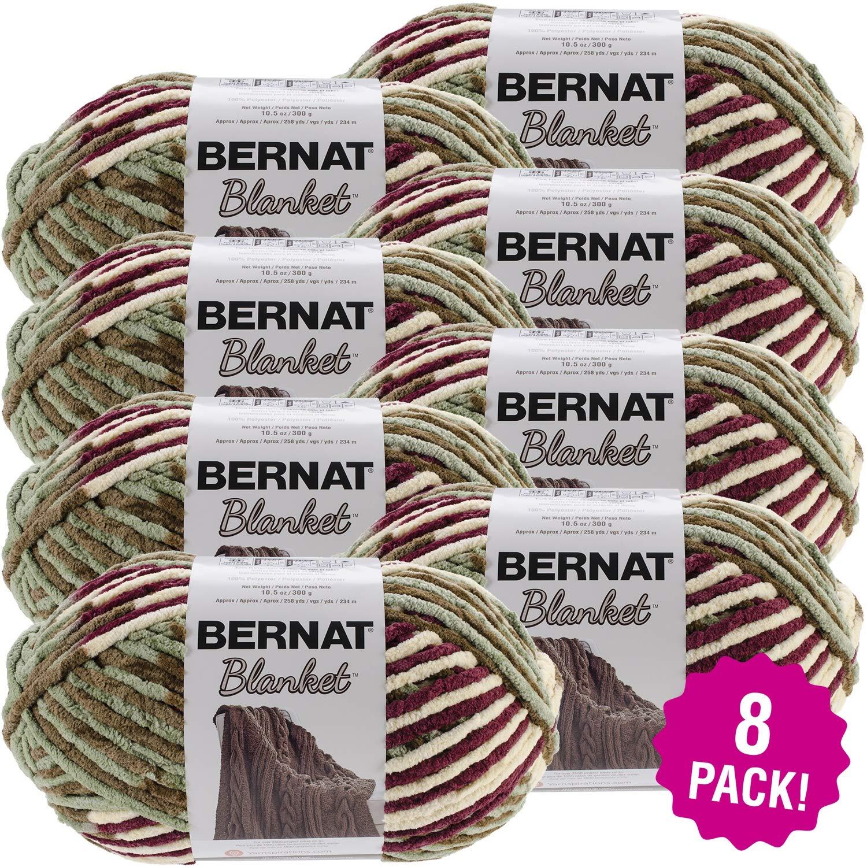 Bernat 99650 Blanket Big Ball Yarn-Plum Fields, Multipack of 8, Pack