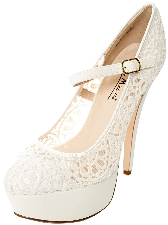 Almond Toe Lace Mary Jane Platform Stiletto Heel Dress Sandals