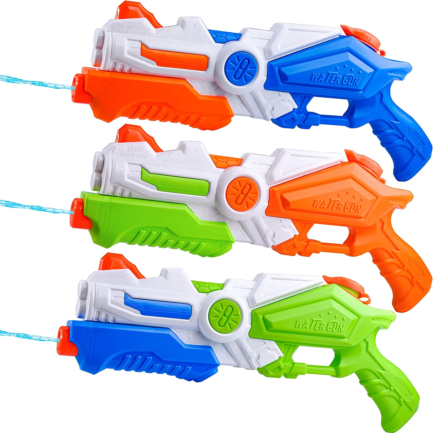 JOYIN 3 Pack Water Guns Toy Super Water Blaster Water Soaker Squirt Guns for Kids Summer Swimming Pool Beach Sand Outdoor Water Activity Fighting Play Toys