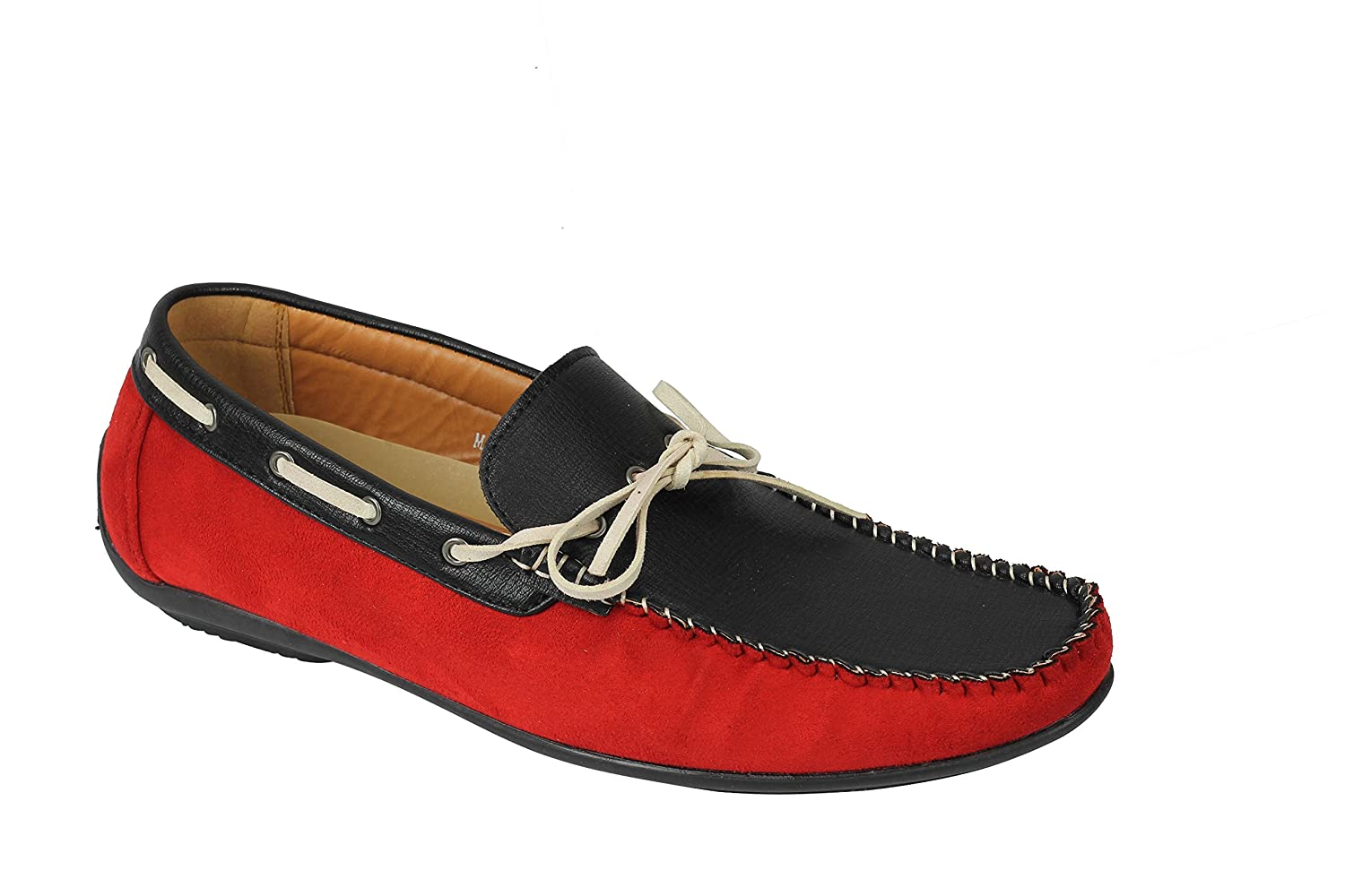 XPOSED New Mens Faux Leather 2 Tone Classic Slip On Driver Loafers Smart Casual Deck Boat Shoes UK Size