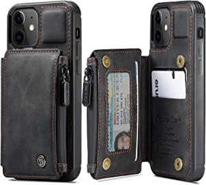 caseme for iPhone 12/12 Pro Max/ 12 Mini Leather Zipper Wallet case, Double Magnetic Clasp and Shockproof Cover for Men Women iPhone 12 (Black, iPhone 12-6.1 inch)