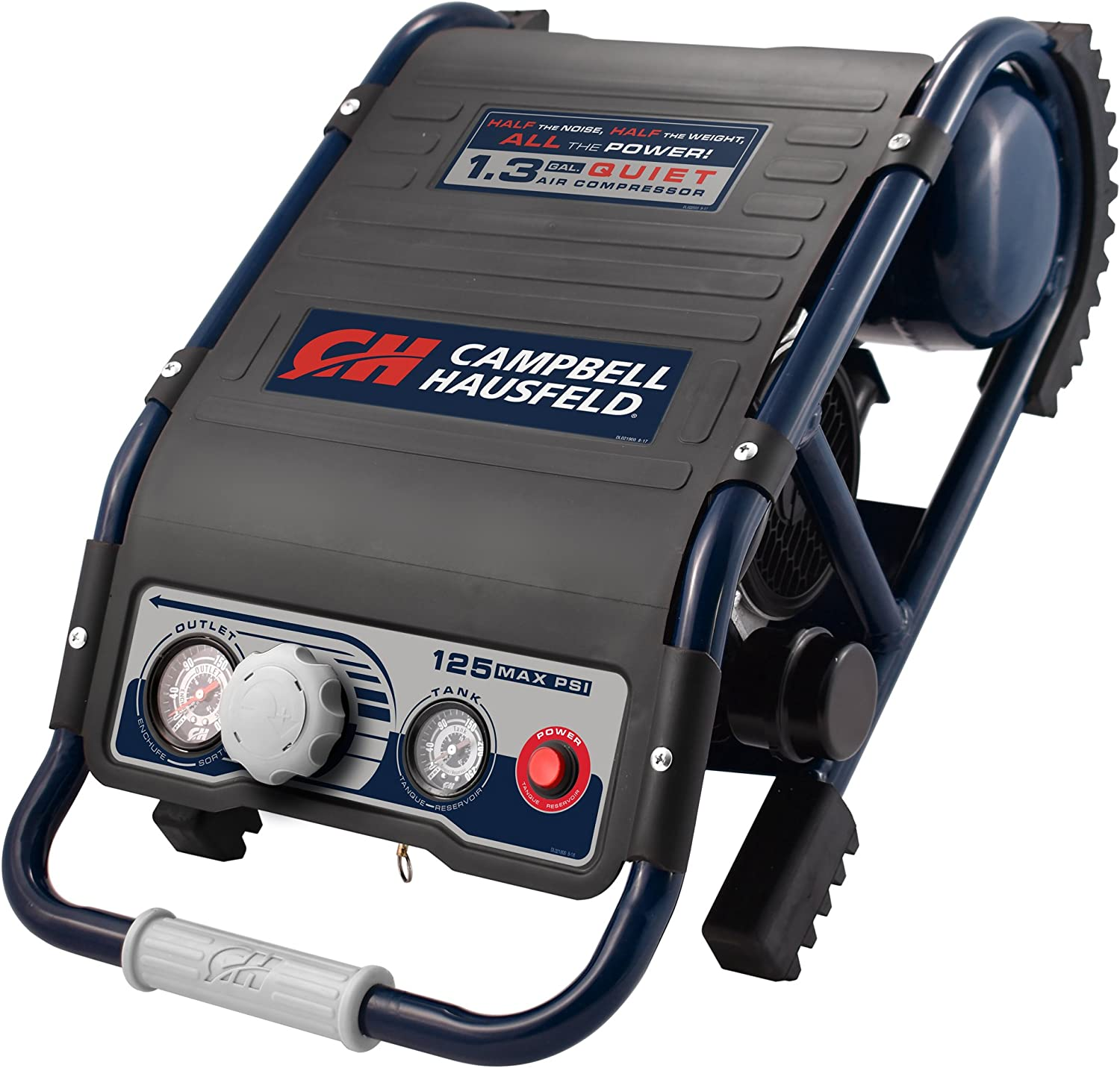 Quiet Air Compressor, Lightweight 29 Lbs, 1.3 gallon Slim Suitcase, Half The Noise, 4X The Life, All The Power (Campbell Hausfeld DC010500)