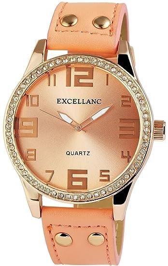 XXL Mujer Reloj Oro Rosa Analog piel brillantes Reloj de pulsera: Amazon.es: Relojes