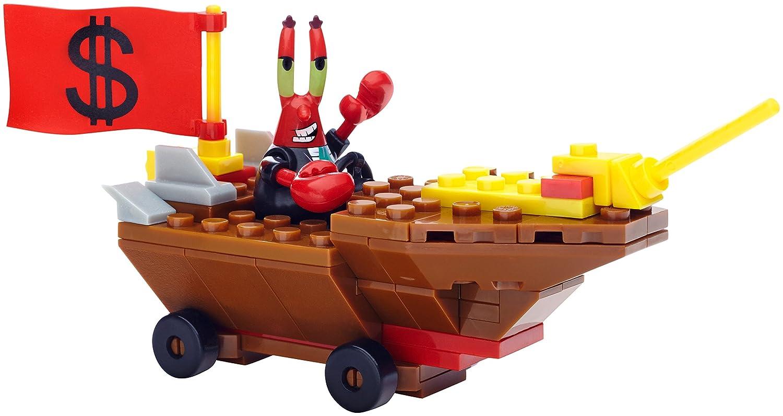 amazon com mega bloks spongebob squarepants mr krabs racer