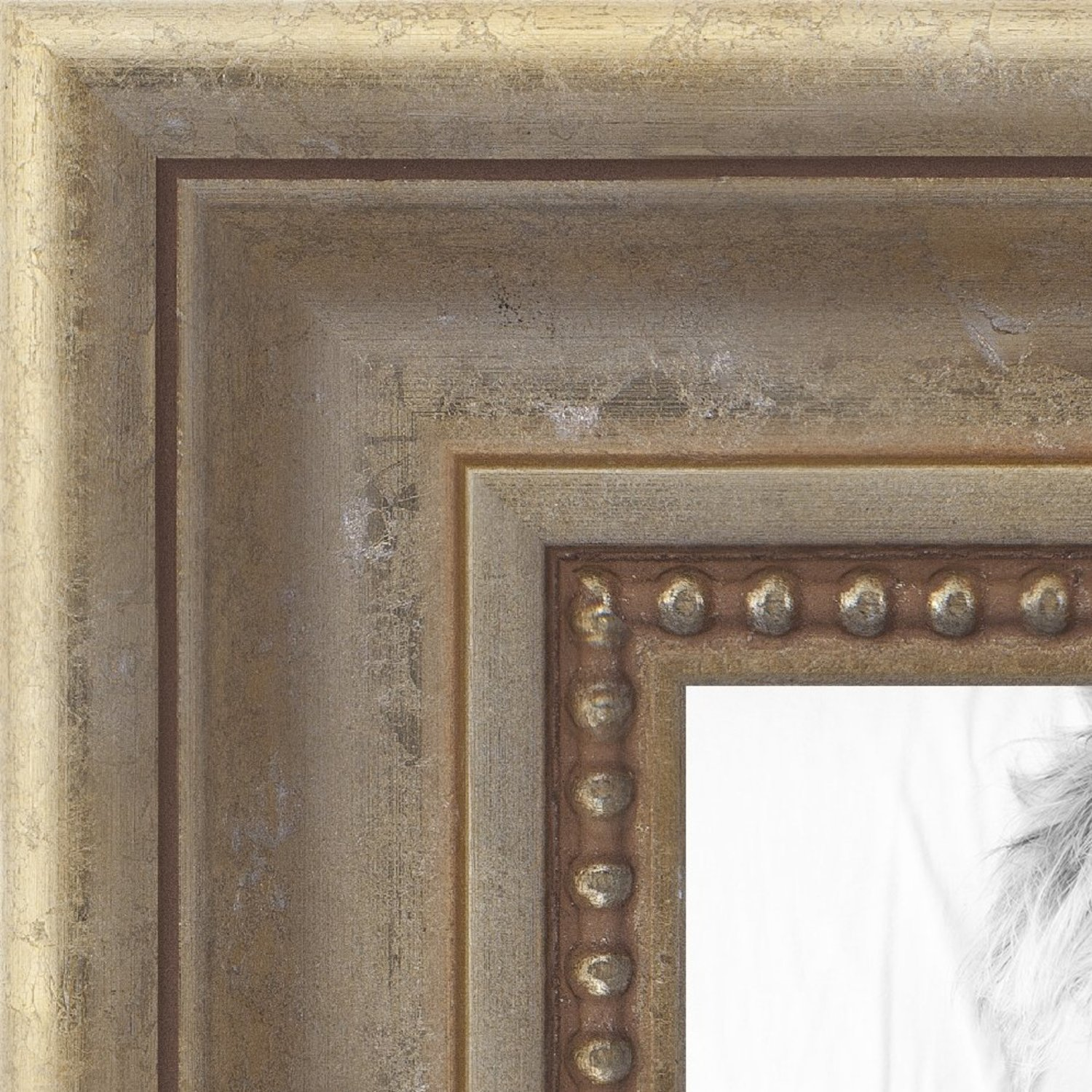 ArtToFrames 18x24 inch Aged White Gold with Beaded Detailing Wood Picture Frame, WOMD8808-18x24