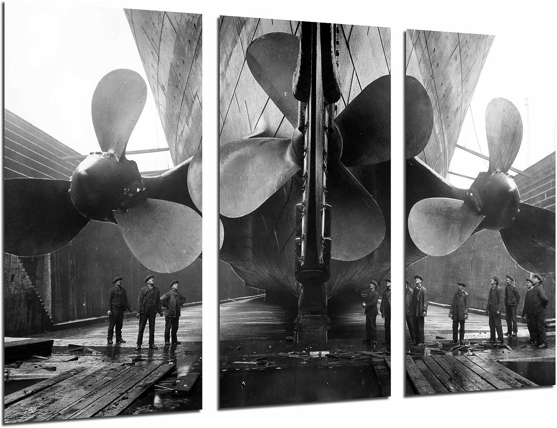 Cuadros Cámara Poster Fotográfico Barco Vintage Tres Helices Gigantes, Pelicula Titanic, 97 x 62 cm XXL