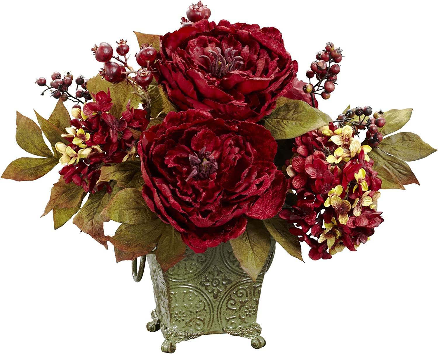 Amazon Com Nearly Natural 4928 Peony And Hydrangea Silk Flower Arrangement Red Home Kitchen