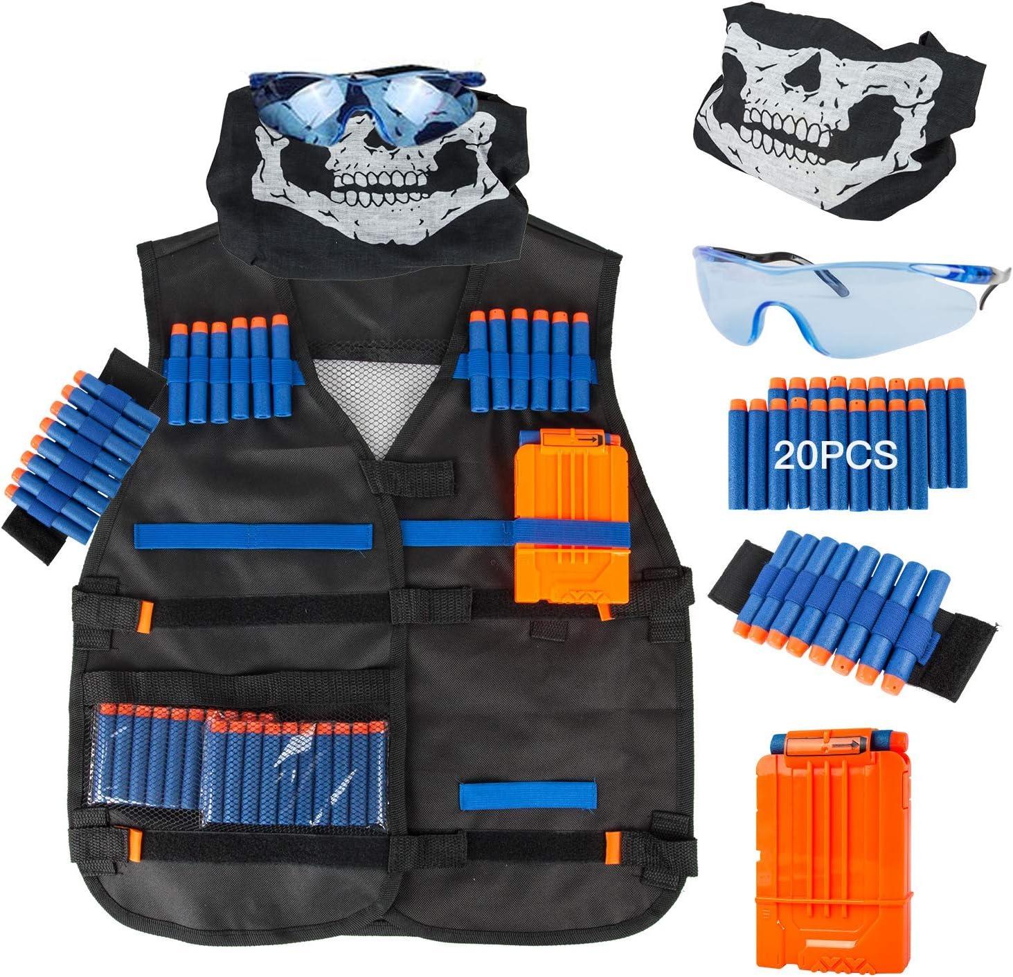Kit de chaleco t/áctico para ni/ños para Nerf Guns N-Strike Elite Series con recarga de dardos bolsa de dardos mu/ñequera y gafas protectoras para ni/ños clip de recarga m/áscara t/áctica