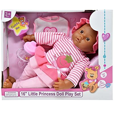 16 Inch Soft Body Baby Doll - Outfit, Bib and Bottle Included, Plays 3 Sounds