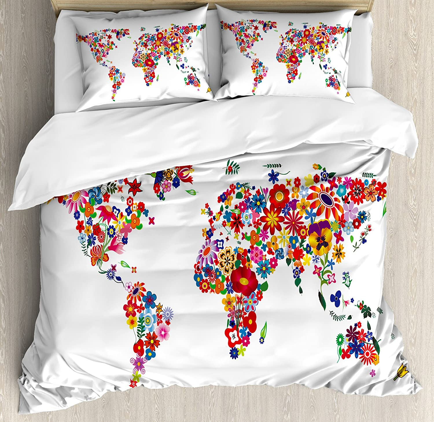 Ambesonne Floral World Map Duvet Cover Set, Bunch of Flower Petals Essence Fragrance Garden Growth Theme Atlas Image, Decorative 3 Piece Bedding Set with 2 Pillow Shams, Queen Size, Red White
