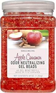 Smells Begone Odor Eliminator Gel Bead Refill - Eliminates Odors from Bathrooms, Cars, Boats, RVs & Pet Areas - Air Freshener Made with Essential Oils - Apple Cinnamon Scent - 48 Ounce