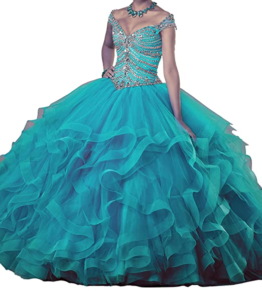 1517af1e71 PuTao Women s Beaded Ruffled Lady Prom Gowns Sweet 15 Quinceanera Dresses at  Amazon Women s Clothing store