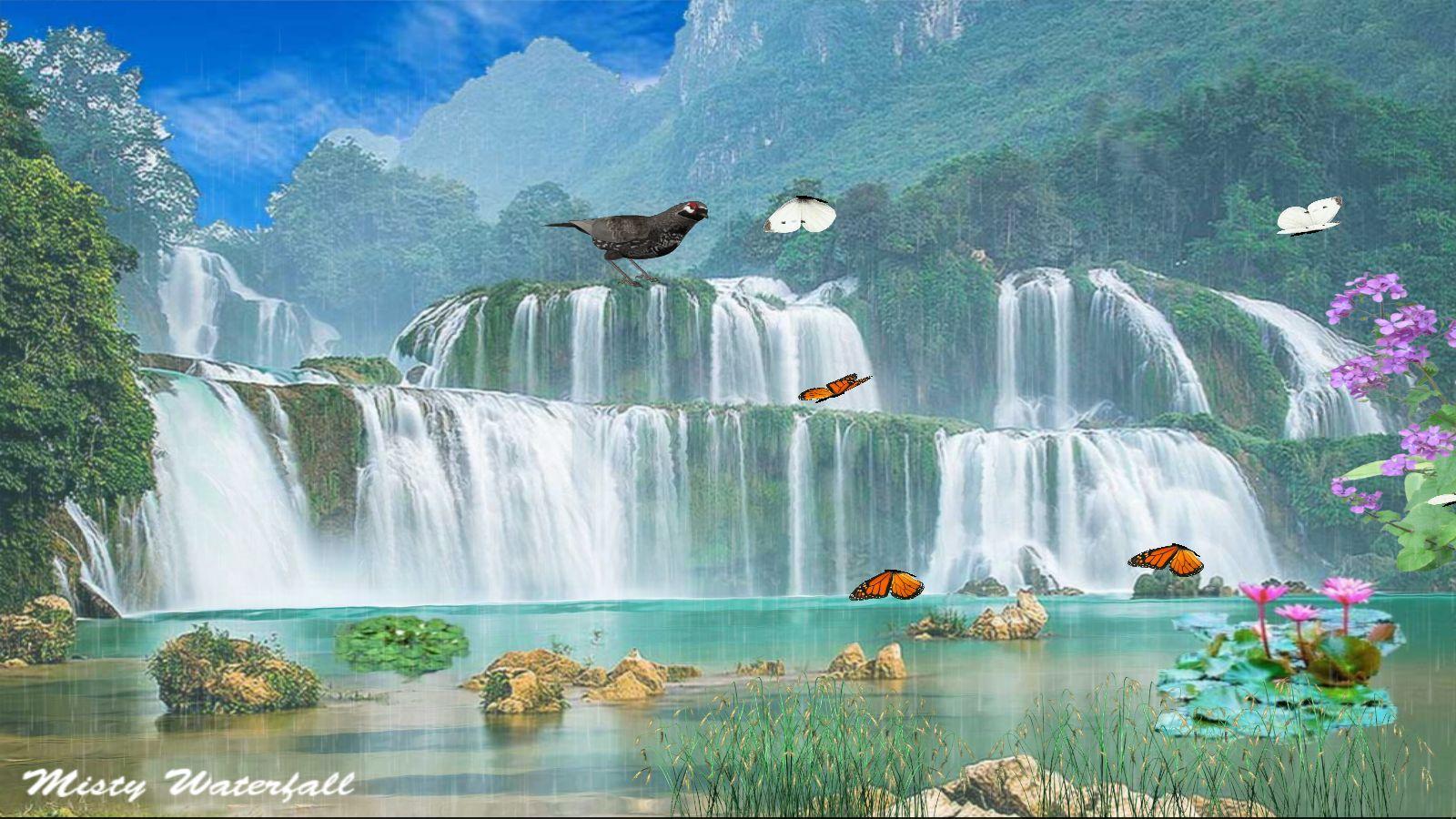 - Misty Waterfall Wallpaper [Download]