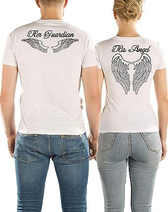 VIVAMAKE Pack 2 Camisetas para Mujer y Hombre Originales con Diseño Angel and Guardian: Amazon.es: Ropa y accesorios