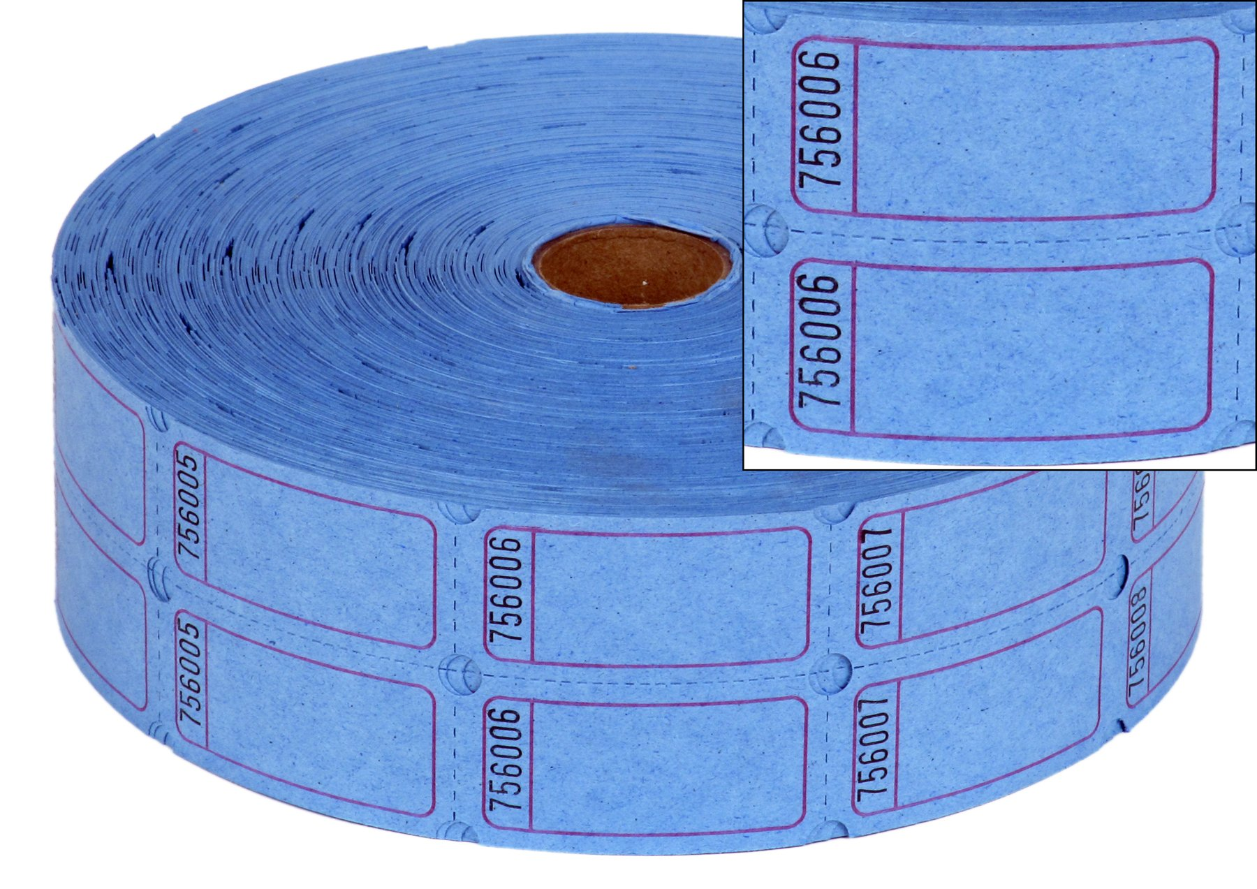 eCart Products Double Roll Ticket - Blue Blank. 2000 tickets per roll.
