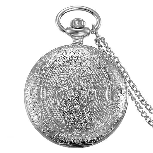 JewelryWe Reloj de Bolsillo Cuarzo, Floral Retro Vintage con Cadena Larga 80cm, Plateado Buen
