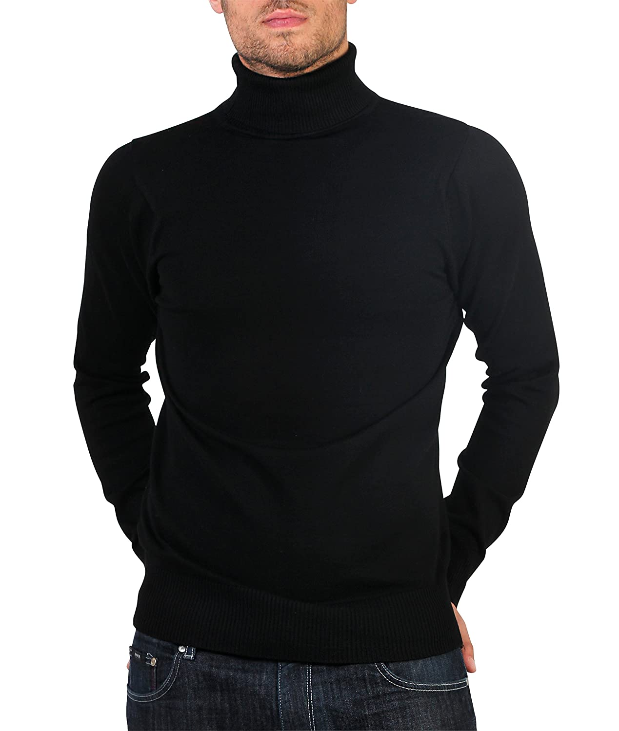 KRISP Mens Long Sleeve Cotton Turtleneck Roll Neck Pullover Polo Knitwear