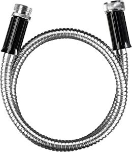 "BEAULIFE Short Metal Steel Garden Hose 3 Feet Drinking Rv Water Hose Dehumidifier Drain Hose Connector Extension Attachments 3/4"" Hose Bib Faucet Reel Extender for Outdoor"
