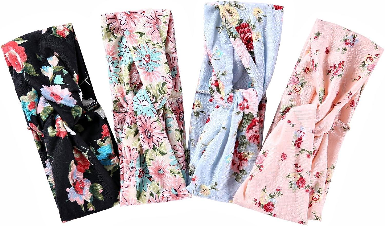 Ever Fairy 4 St/ück Damen Blumenmuster Baumwolle Stirnb/änder f/ür Sport oder Daily Wear