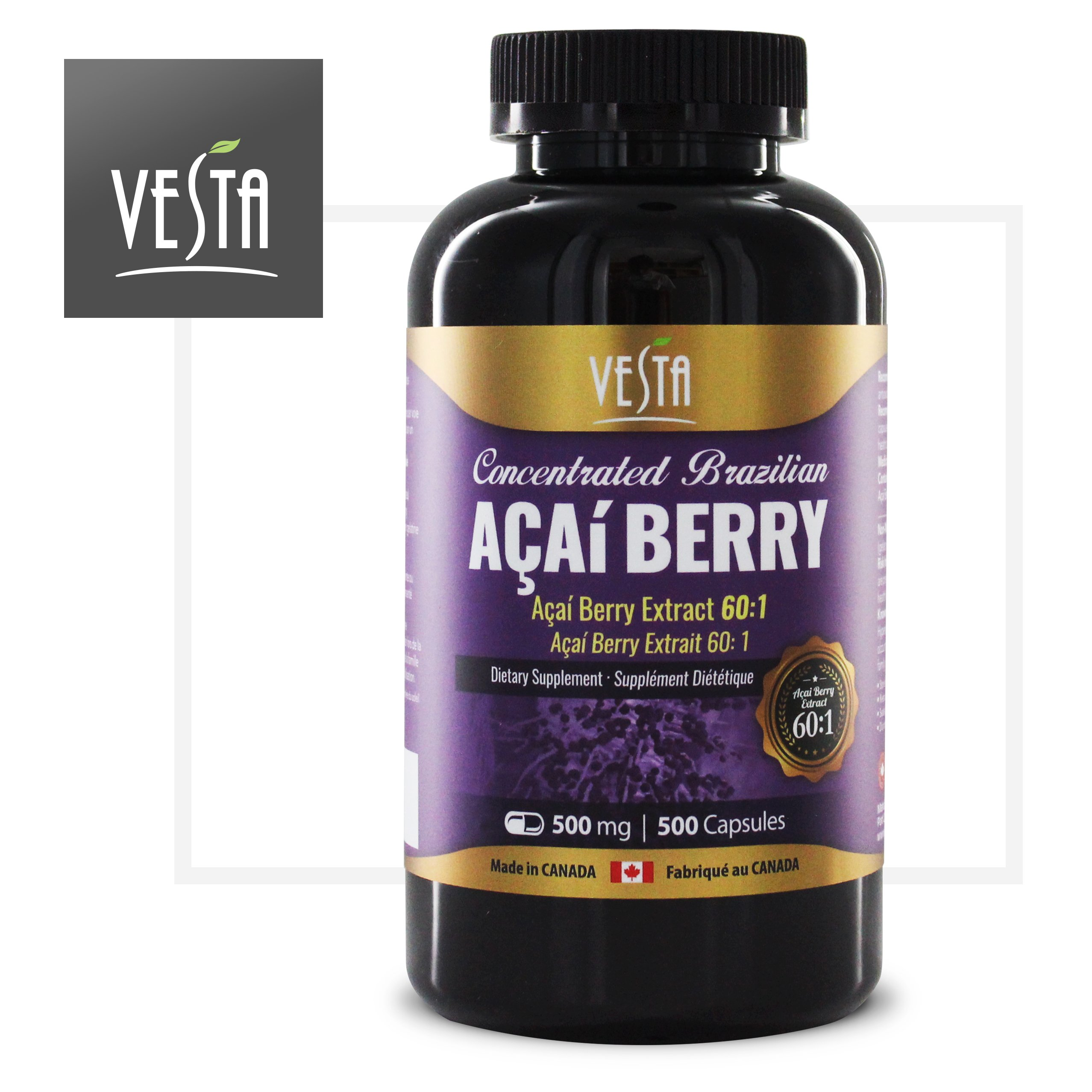[Vesta] Brazilian Acai Berry 60:1 Extract 500 Capsules, 500mg, Antioxidant, Weight Loss, Detox, Manufactured In Canada