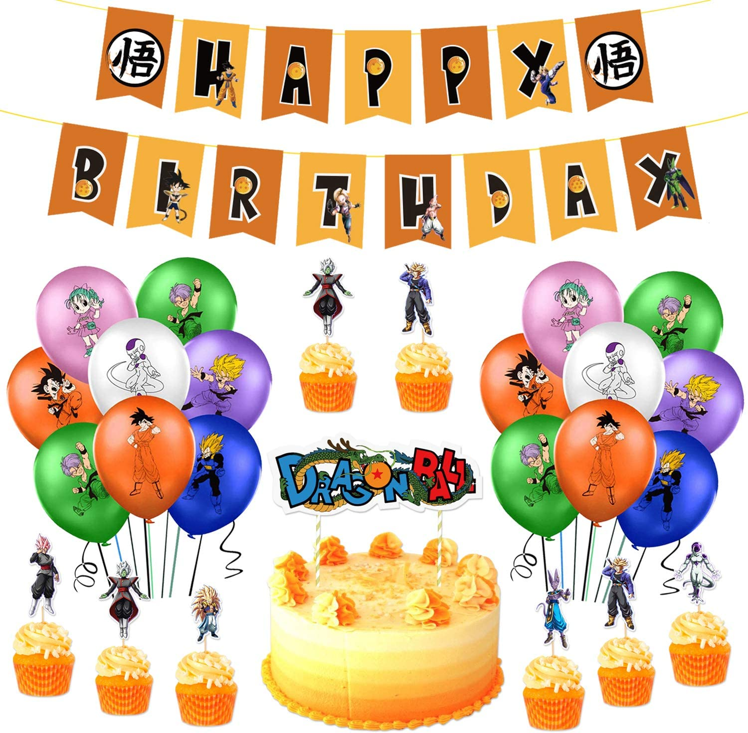 Amazon Com 42 Pcs Dragon Ball Z Birthday Party Decorations Balloon Banner Cake Toppers Set Anime Party Supplies For Kids And Boys Toys Games