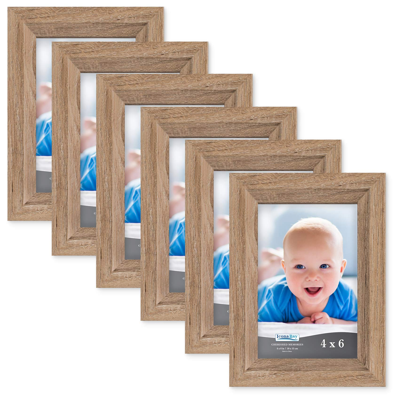 Icona Bay 4x6 Picture Frame (6 Pack, Dark Oak Wood Finish), Photo Frame 4 x 6, Composite Wood Frame for Walls or Tables, Set of 6 Cherished Memories Collection by Icona Bay