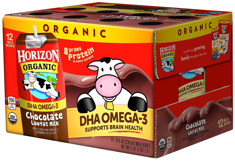 Horizon Organic Low Fat Organic Milk Box Plus DHA Omega-3, Chocolate, 8 Ounce (Pack of 24)