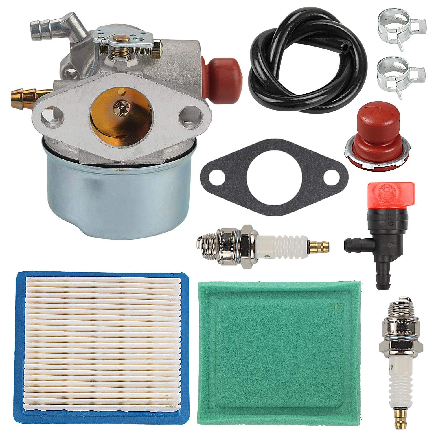 Wellsking 640004 640014 Carburetor for Tecumseh OHH45 OHH50 OHH55 OHH60 OHH65 OH195EA OH195XA Engine Snow Thrower Lawn Mower 640025 640117 640017 with Air Filter Tune Up Kit