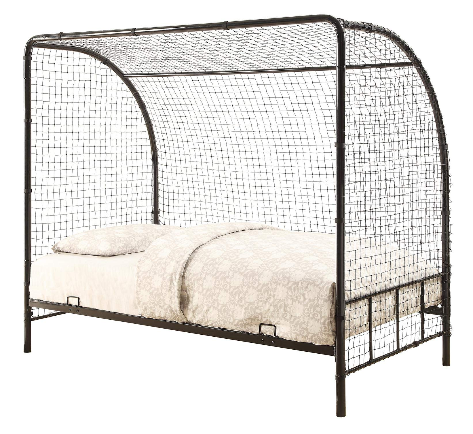 Coaster 301067-CO Bennette White Metal Soccer Goal Twin Bed, Twin Bed