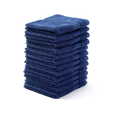 """Bumble Towels Bliss Luxury Combed Cotton 12 Pack Wash Cloth Set - 12"""" x 12"""" Extra Large Premium Quality Wash Cloths - 650 GSM - Soft, Absorbent - Bonus Laundry Bag Included (Denim)"""
