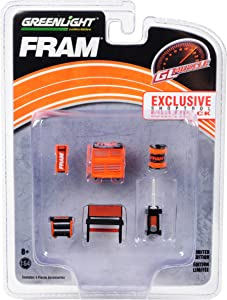 Greenlight Muscle 6 Piece Set Shop Tools FRAM Oil Filters 1/64 by Greenlight 13173