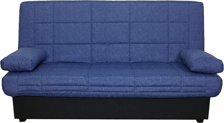 Abitti Sofá Cama Azul Sistema abatible fácil con somier de láminas y arcón 190 cm